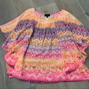 Investments II pink purple orange poncho blouse 3X